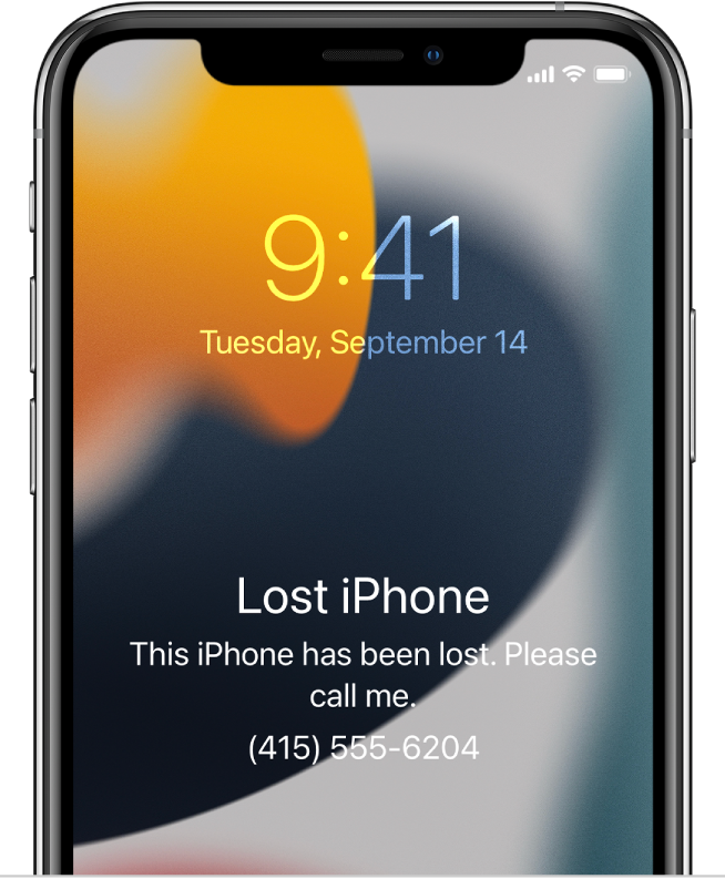 """An iPhone Lock screen with the message: """"Lost iPhone. This iPhone has been lost. Please call me. (669) 555-3691."""""""