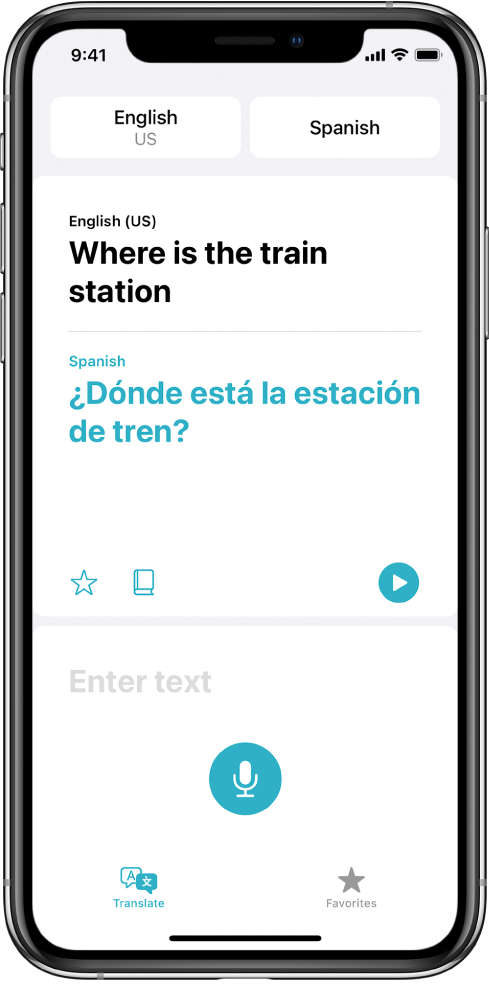 The Translate screen, showing two selected languages—English and Spanish—at the top, a translation in the center, and the Enter text field near the bottom.