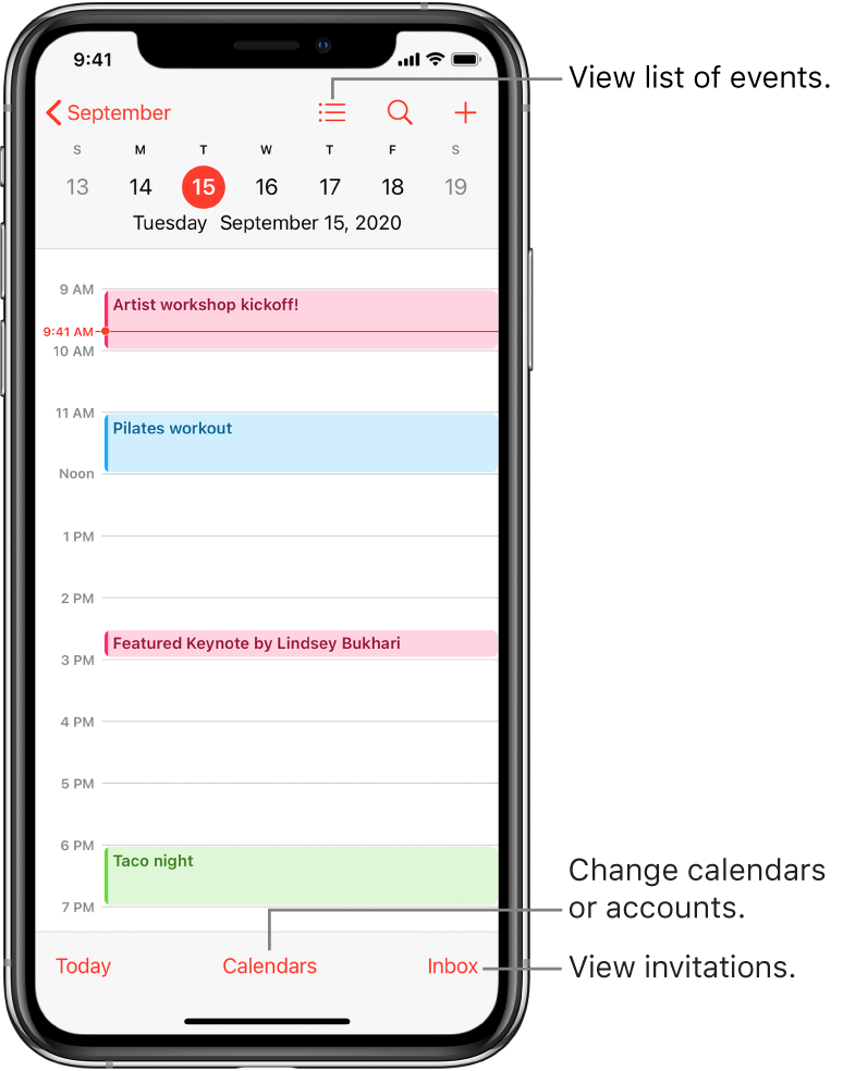 A calendar in day view showing the day's events. Tap the Calendars button at the bottom of the screen to change calendar accounts. Tap the Inbox button at the bottom right to view invitations.