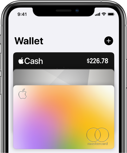 The top half of the Wallet screen, showing several credit and debit cards. The Add button is at the top-right corner.
