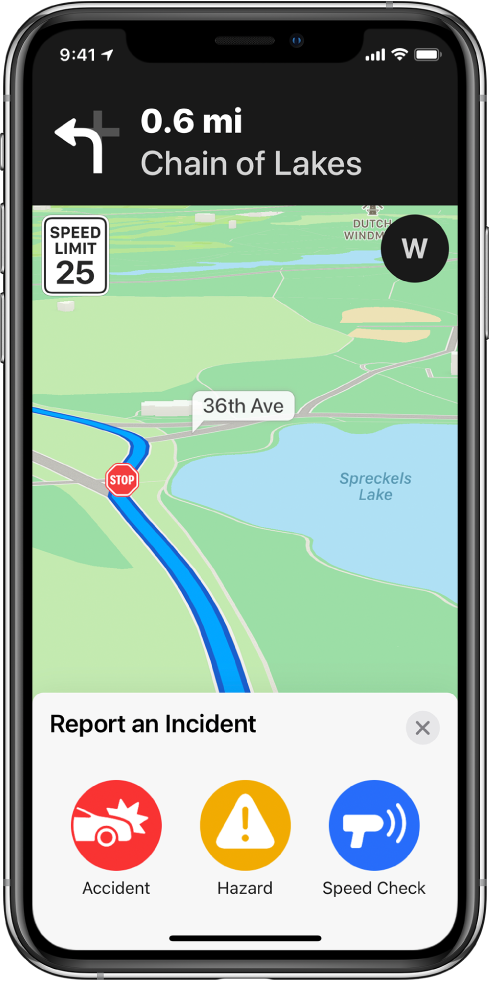 A map with a card labeled Report an Incident at the bottom of the screen. The route card includes buttons for Accident, Hazard, and Speed Check.