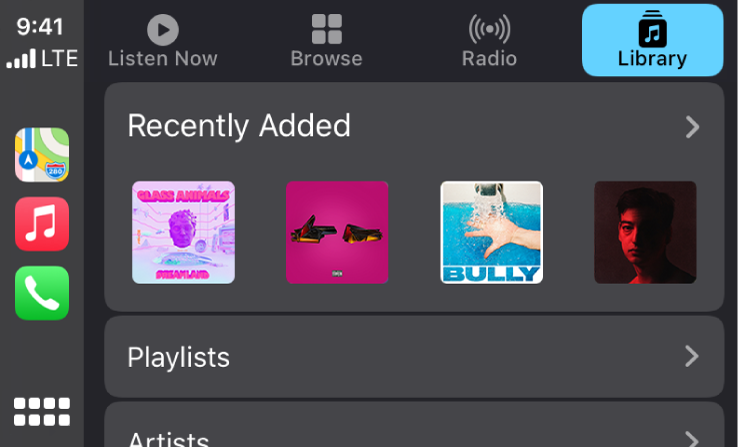 The CarPlay screen showing a group of recently added songs.