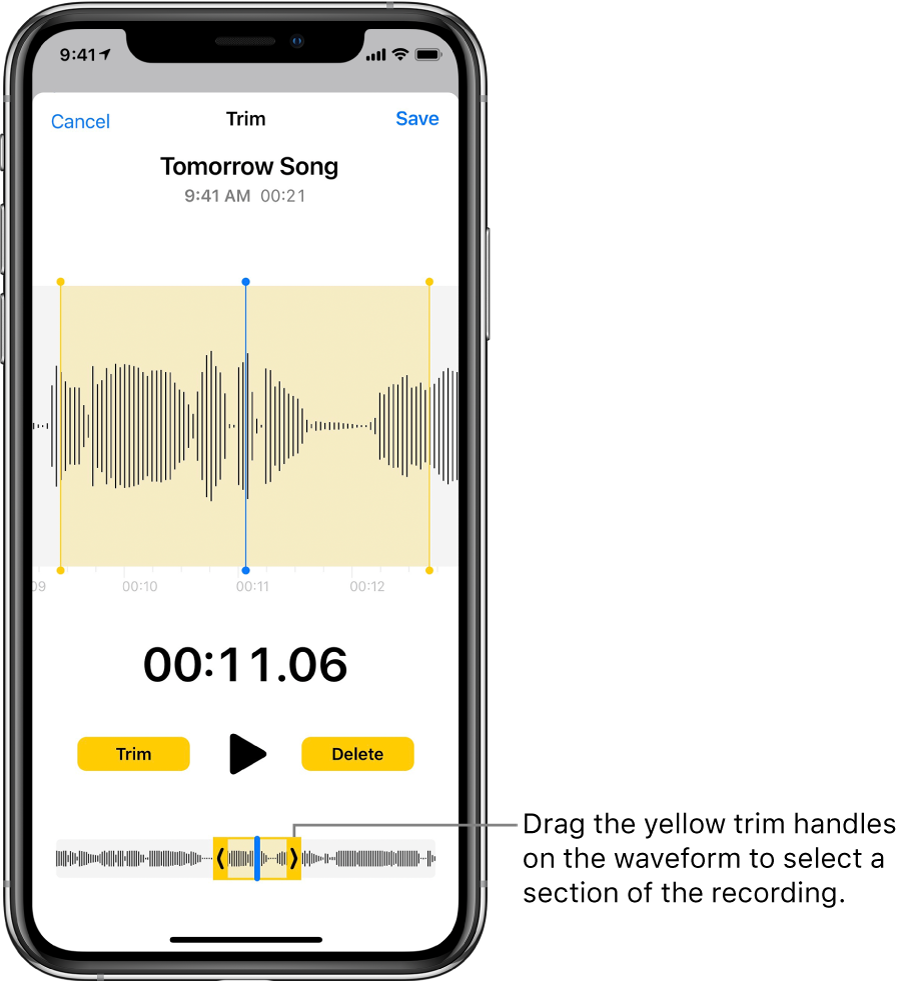 A recording being trimmed, with the trim handles enclosing a portion of the audio waveform at the bottom of the screen. A Play button and a recording timer appear above the waveform. The trim handles are below the Play button. The Trim button for deleting the part of the recording outside the handles, and the Delete button for deleting the part of the recording inside the handles, are on either side of the Play button.
