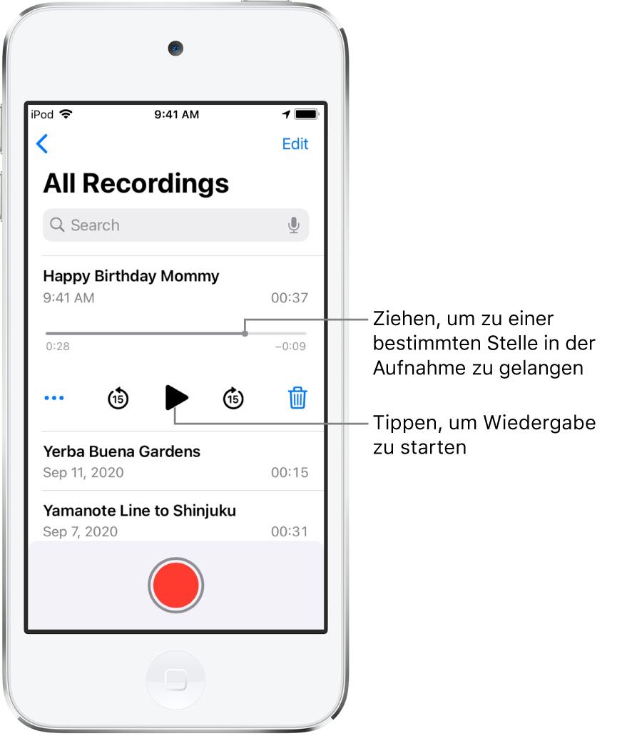"""Der Bildschirm der App """"Sprachmemos"""" mit der Liste der Aufnahmen und der ausgewählten Aufnahme oben. Auf der Zeitleiste der Aufnahme sind die Abspielposition und links und rechts die Zeitangaben für Beginn und Ende der Aufnahme zu sehen. Unter der Zeitleiste sind die Taste """"Mehr"""" zum Bearbeiten, Duplizieren oder Teilen einer Aufnahme, die Tasten zum Zurückspringen und zum Vorspringen um jeweils 15Sekunden und die Taste """"Löschen"""" zu sehen. Ganz unten ist die Liste der weiteren Aufnahmen zu sehen, die durch Tippen geöffnet werden können."""