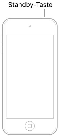 Abbildung eines iPod touch, dessen Display nach oben zeigt. Die Standby-Taste befindet sich oben am iPod touch.