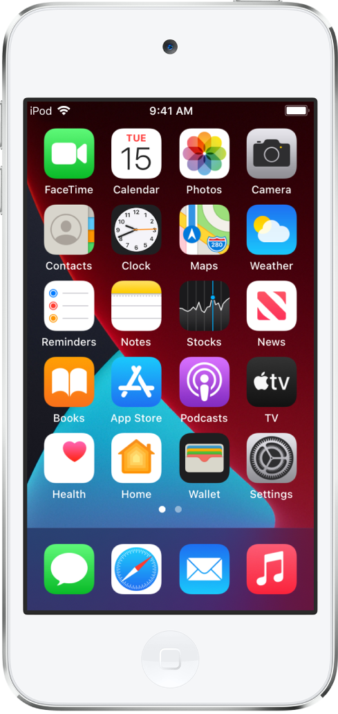 The iPod touch Home Screen with Dark Mode turned on.