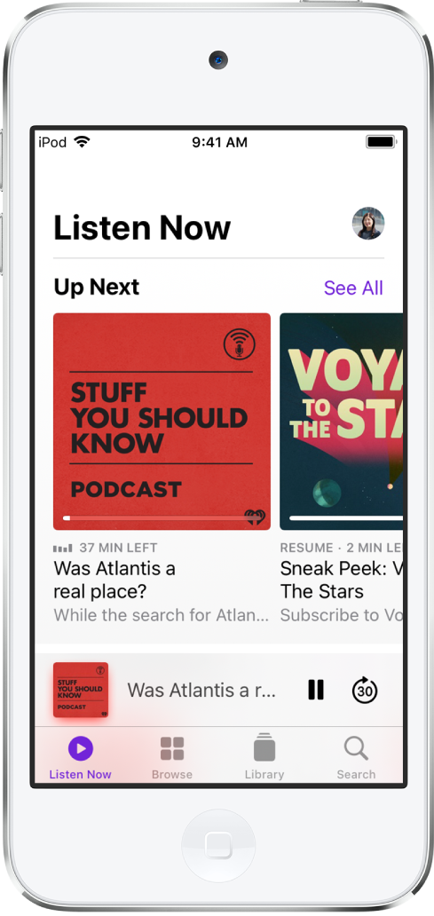 The Listen Now screen showing recently updated episodes.