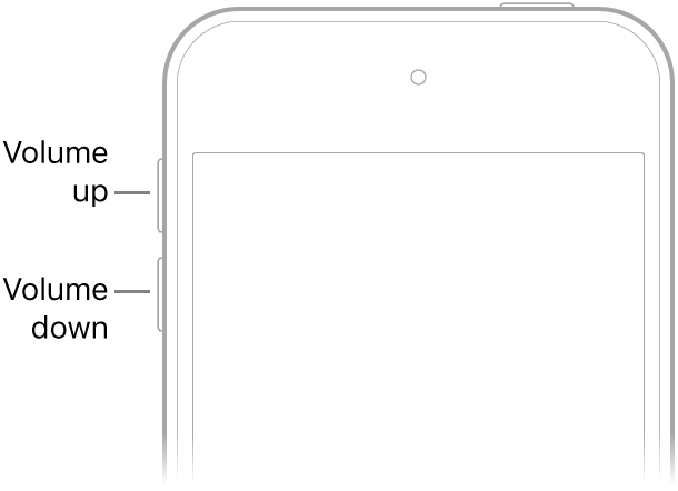 The upper portion of the front of iPhone with the volume up and volume down buttons on the upper left.