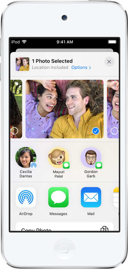 The Sharing screen with photos across the top; one photo is selected, indicated with a white checkmark in a blue circle. The row beneath the photos shows friends you can share with using AirDrop. Below that are other sharing options, including, from left to right, Messages, Mail, Shared Albums, and Add to Notes. In the bottom row are the Copy, Copy iCloud Link, Slideshow, and AirPlay buttons.