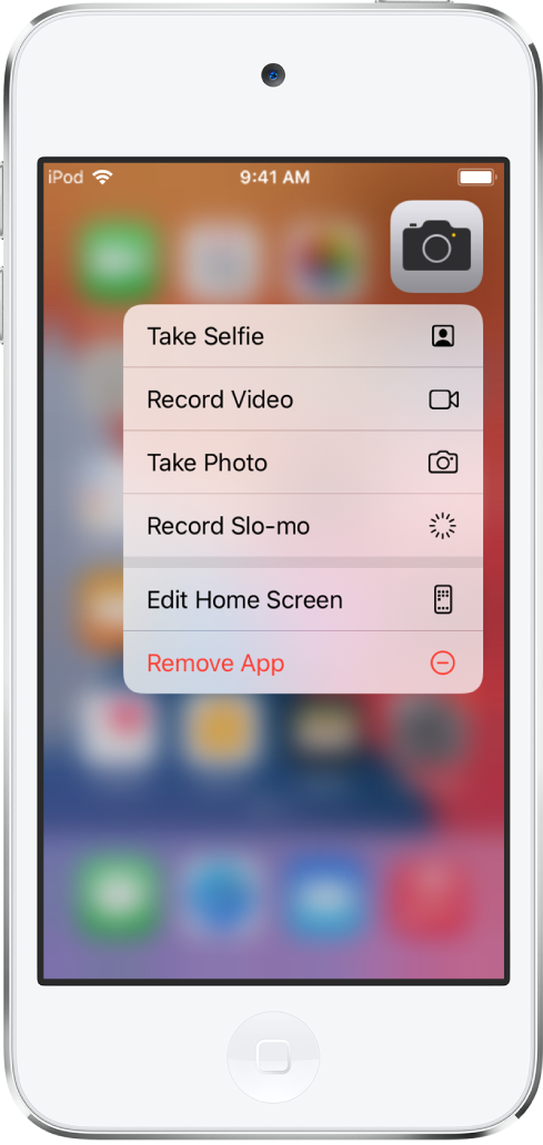 The Home Screen blurred, with the Camera quick actions menu showing below the Camera app.