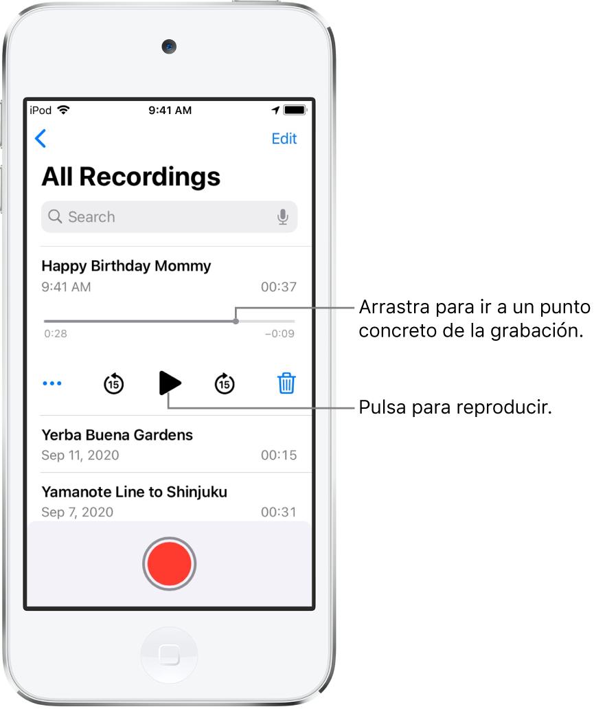 Pantalla de lista de Notas de Voz con una grabación seleccionada arriba. La línea de tiempo de la grabación tiene un cursor de reproducción, y tiempos de inicio y fin en los extremos. Debajo de la línea de tiempo se encuentra el botón Más (que puedes pulsar para editar, duplicar o compartir una grabación), el botón de retroceder 15 segundos, el botón de reproducción, el botón de avanzar 15 segundos y el botón de eliminación. Debajo de estos controles hay una lista de grabaciones que se pueden abrir con una pulsación.