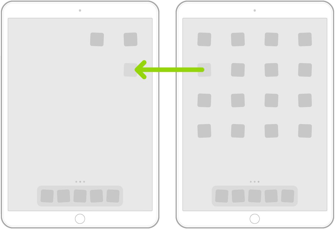 تطبيقات تهتز على الشاشة الرئيسية مع سهم يُظهر تطبيقًا واحدًا يتم سحبه إلى الصفحة التالية.