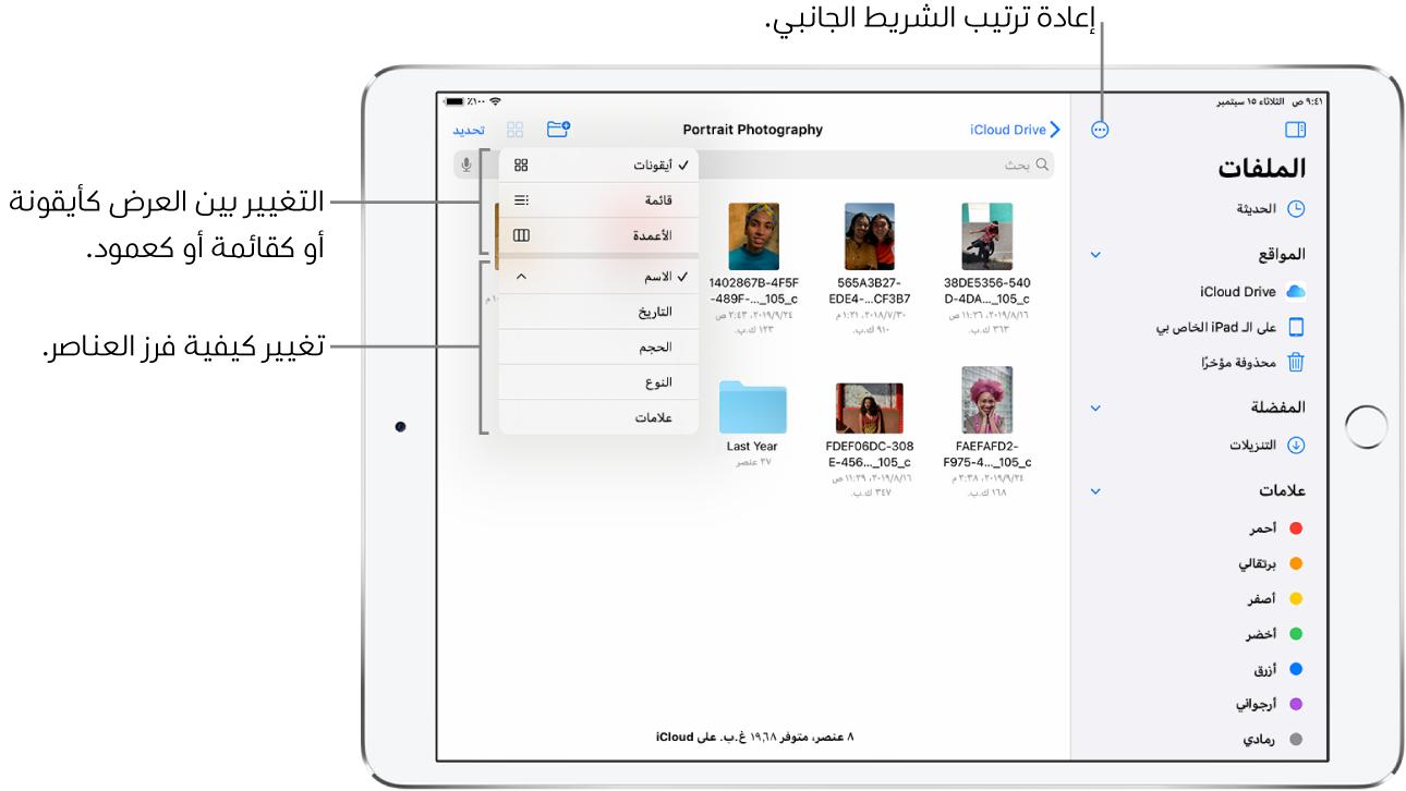 موقع iCloudDrive يظهر به أزرار لإعادة ترتيب الشريط الجانبي، والفرز حسب الاسم والتاريخ والحجم والعلامات، والتغيير بين عرض القائمة وعرض الأيقونات.