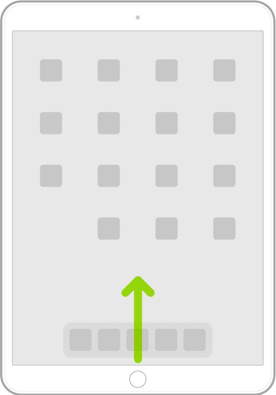 رسم توضيحي يعرض التحريك لأعلى من الحافة السفلية للشاشة للانتقال إلى الشاشة الرئيسية.