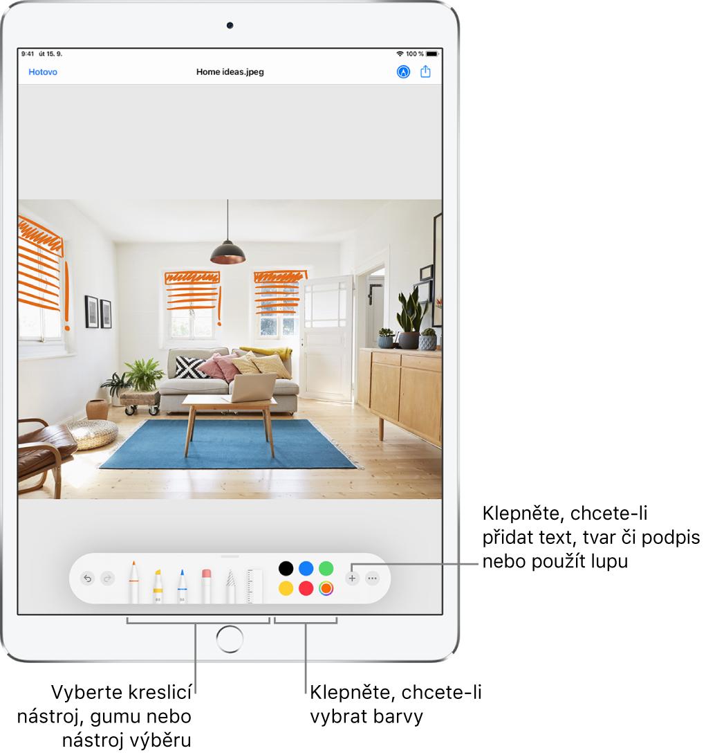 Obrázek vokně anotací. Pod obrázkem jsou zleva doprava vidět tlačítka nástrojů pro anotace: kreslicí pera, guma, nástroj výběru, barvy atlačítka pro přidání textového pole, vašeho podpisu nebo tvarů ataké pro zapnutí Lupy