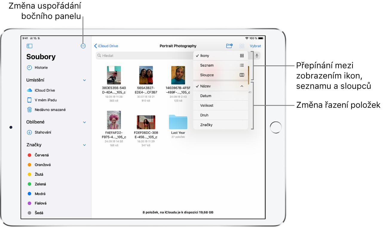 Místo na iCloudDrivu stlačítky pro změnu uspořádání bočního panelu, pro řazení podle názvu, data, velikosti aznaček apro přepínání mezi zobrazením seznamu aikon