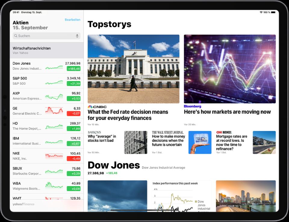 """Die geöffnete App """"Aktien"""" im Querformat. Links oben befindet sich das Suchfeld. Unter dem Suchfeld wird die Aktienliste angezeigt. Außerdem sind Top-Storys zu den Aktien in der Aktienliste zu sehen."""