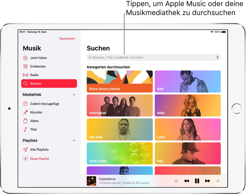 """Der Bildschirm """"Suchen"""" mit der Seitenleiste links und einem Suchfeld oben rechts. Darunter werden im Bereich zum Entdecken von Kategorien mehrere Kategorien angezeigt."""