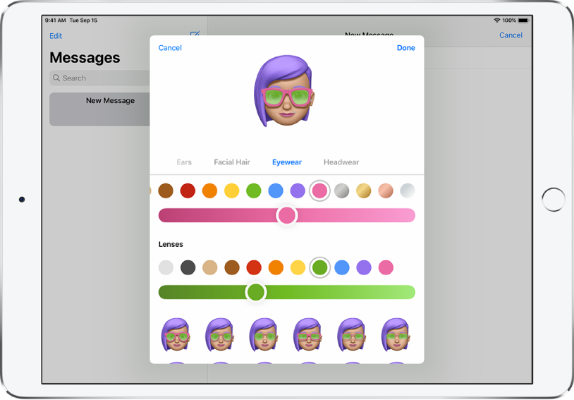 The create a Memoji screen in the Messages app, where you can choose eyewear.