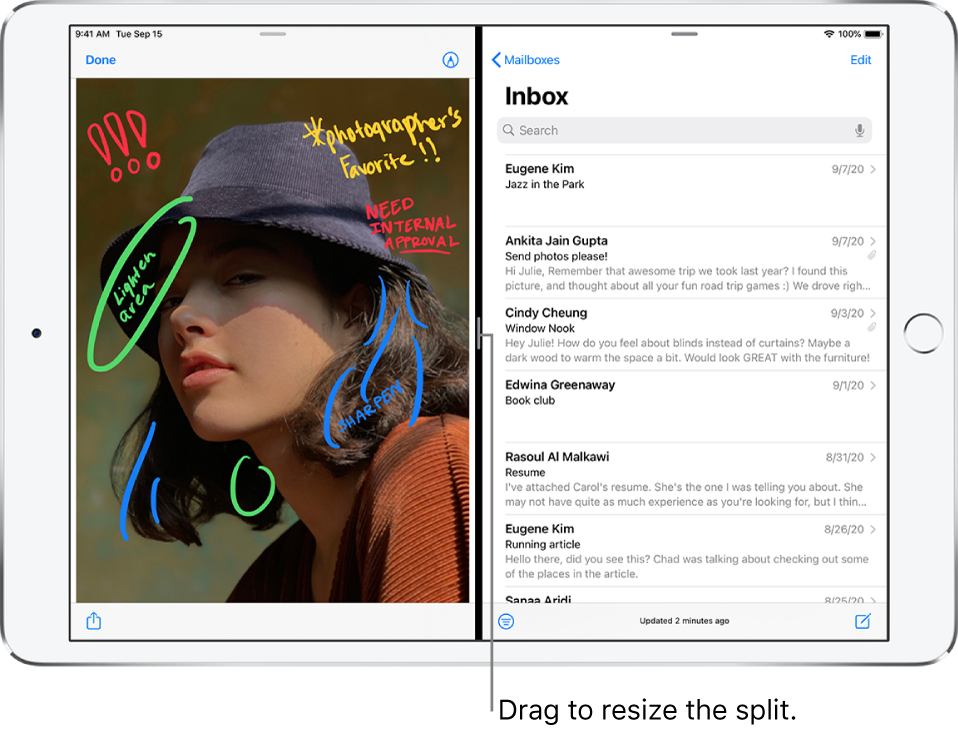 """A graphics app is open on the left side of the screen, and Mail is open in the right side. A callout for the dark line between them reads """"Drag to resize the split."""""""