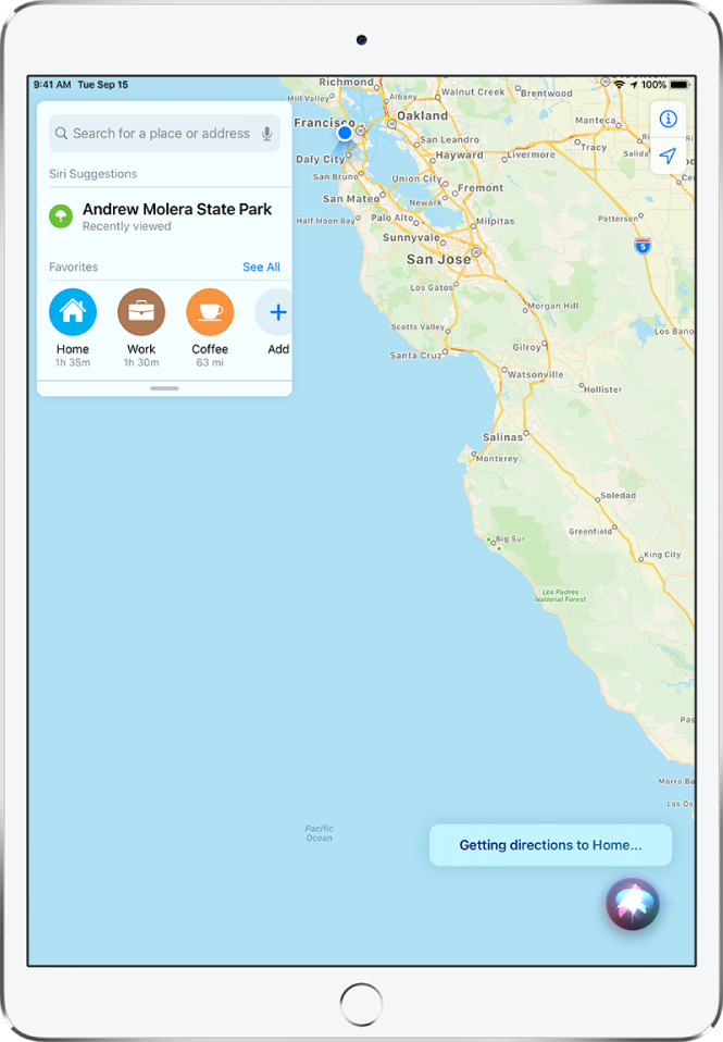 """A map showing the Siri response """"Getting directions to Home"""" at the bottom of the screen."""