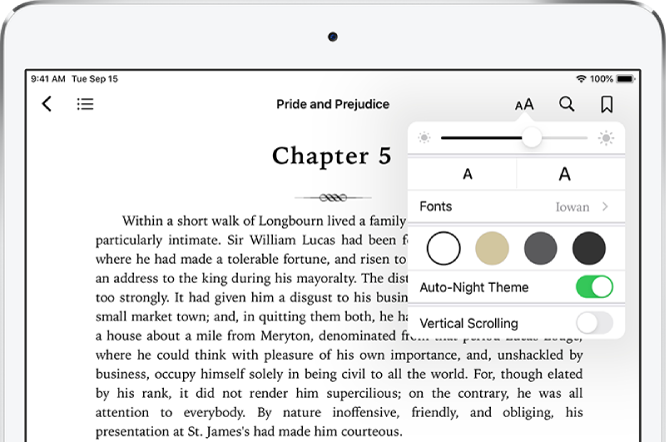 The appearance menu in a book is selected showing controls for, from top to bottom, brightness, font size, style of font, page color, auto-night theme, and scrolling view.