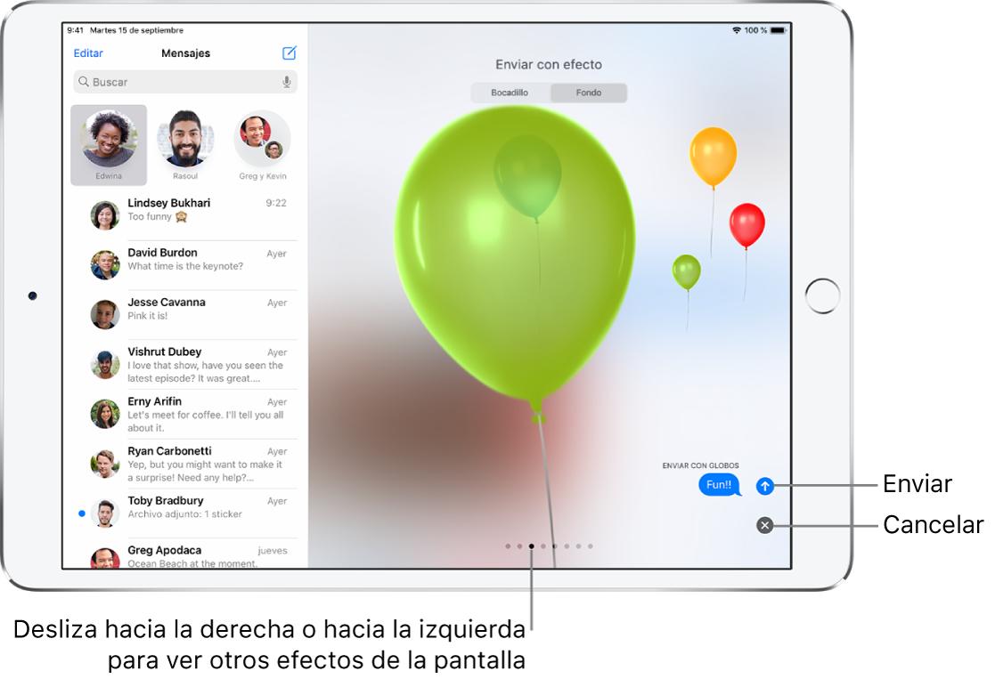 Vista previa de un mensaje con un efecto de pantalla completa con globos.