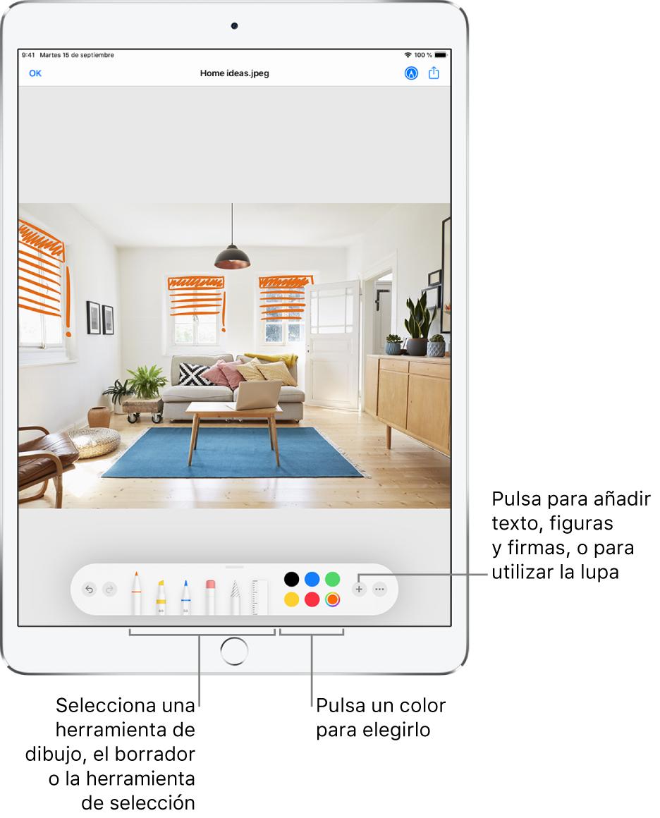 Una imagen en la ventana Marcación. Debajo de la imagen, de izquierda a derecha, se encuentran los botones de las herramientas de Marcación: bolígrafos, borrador, herramienta de selección, colores, botones para añadir un cuadro de texto, tu firma y figuras, y otro para seleccionar la lupa.