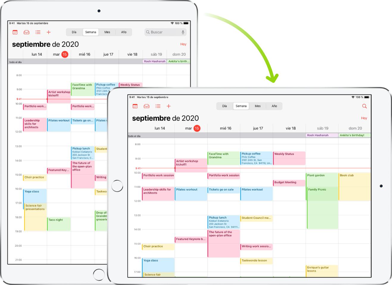 En segundo plano, el iPad muestra una pantalla de Calendario en orientación vertical y, en primer plano, el iPad se ha girado para mostrar la pantalla en horizontal.