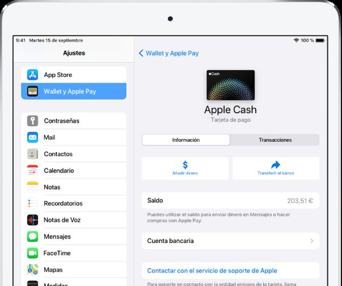 Pantalla de detalles de la tarjeta AppleCash con el saldo en la esquina superior derecha.
