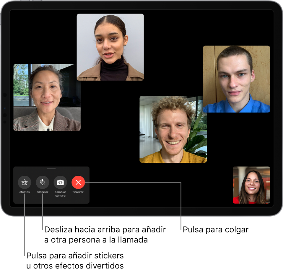 Una llamada FaceTime en grupo con cinco participantes, entre ellos la persona que ha realizado la llamada. Cada participante se muestra en un recuadro. En la parte inferior izquierda se encuentran los controles de efectos, silenciar, cambiar de cámara y finalizar la llamada.