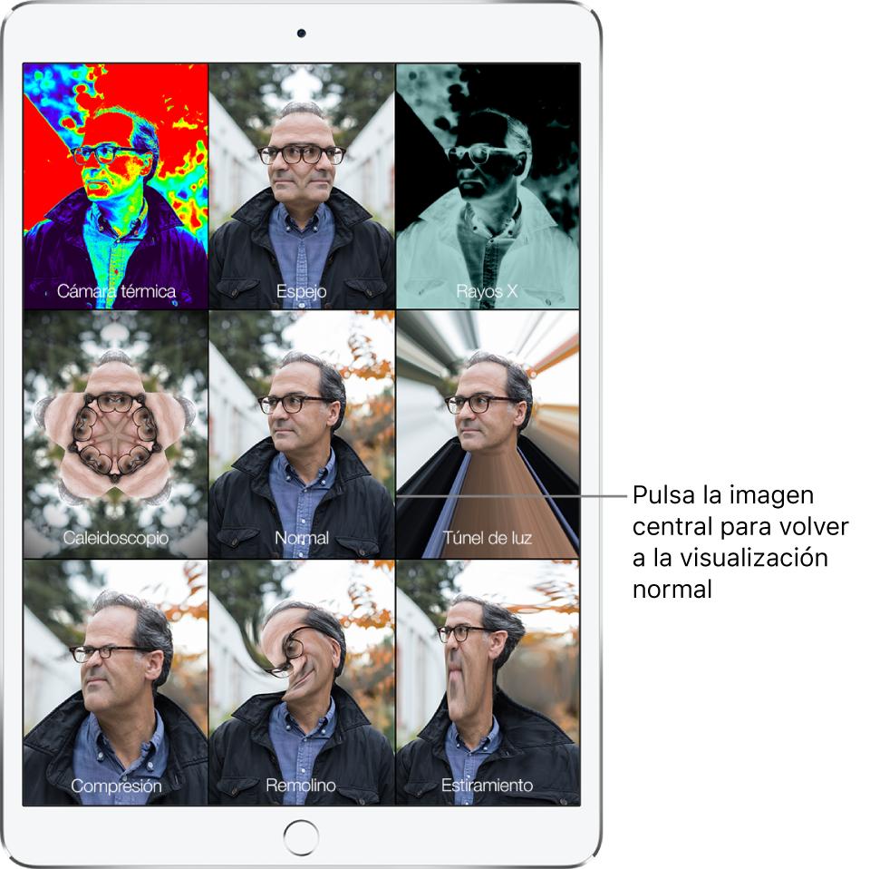 """Pantalla de PhotoBooth con nueve visualizaciones de la cara de un hombre, con distintos efectos en mosaicos diferentes. En la fila superior, de izquierda a derecha, se encuentran los efectos """"Cámara térmica"""", Espejo y """"Rayos X"""". En la fila central, de izquierda a derecha, están los efectos Caleidoscopio, Normal y """"Túnel de luz"""". La fila inferior contiene, de izquierda a derecha, los efectos Compresión, Remolino y Estiramiento."""