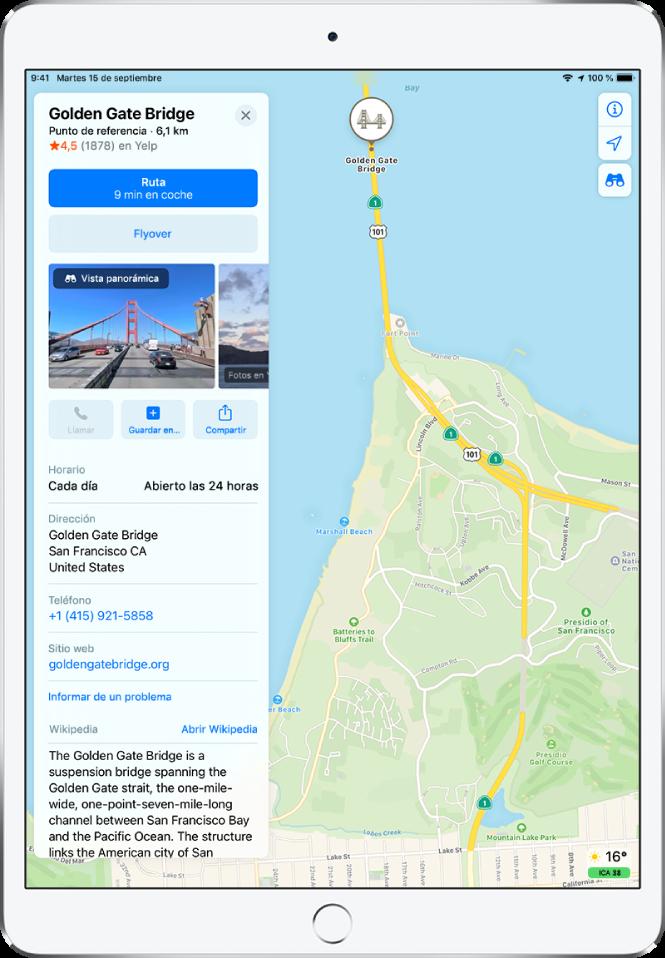 Mapa que muestra la ubicación del Golden Gate. La tarjeta de información en la parte izquierda de la pantalla incluye botones para obtener indicaciones, hacer un recorrido de Flyover y hacer una llamada de teléfono. La tarjeta de información también contiene información como el horario de apertura, una dirección y un sitio web.