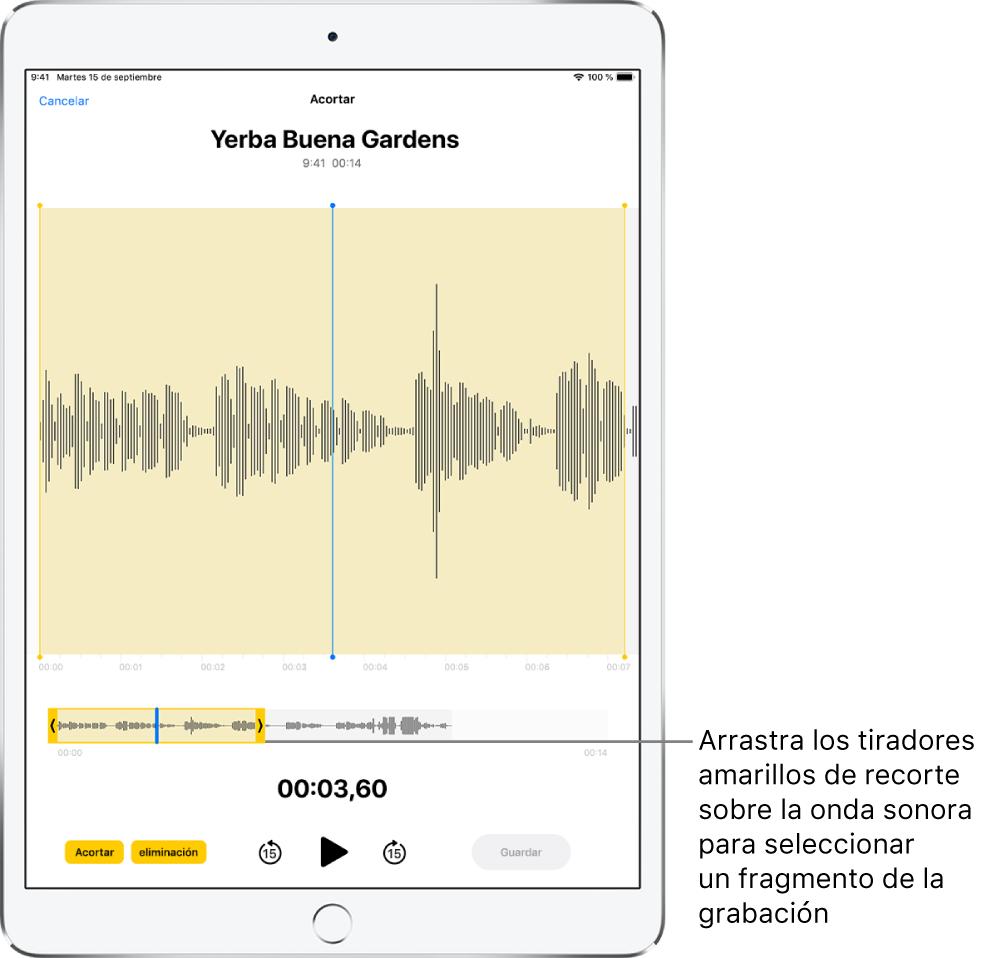 Se está acortando una grabación, con los tiradores de recorte amarillos que enmarcan una porción de la forma de onda de audio en la parte inferior de la pantalla. Debajo de la forma de onda y los tiradores de recorte hay un botón Reproducir y un temporizador de grabación.