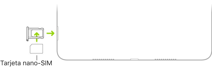 Inserción de una tarjeta nano-SIM en la bandeja de la tarjeta SIM del iPad; la esquina en ángulo está arriba a la izquierda.