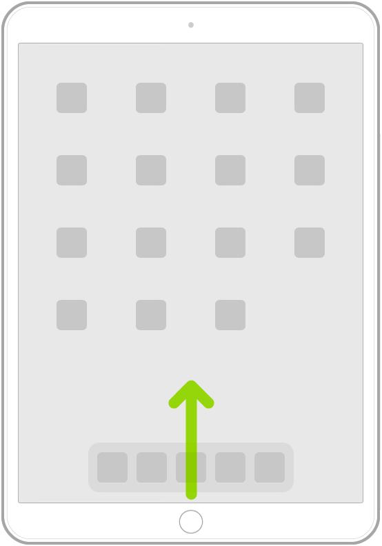 Ilustración que muestra cómo se desliza un dedo desde el borde inferior de la pantalla para ir a la pantalla de inicio.
