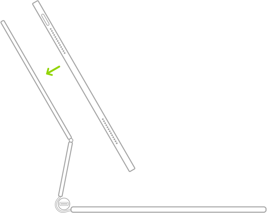 Ilustración de un teclado MagicKeyboard para el iPad abierto y plegado hacia atrás. El iPad se coloca sobre el teclado MagicKeyboard para el iPad para acoplarlo.