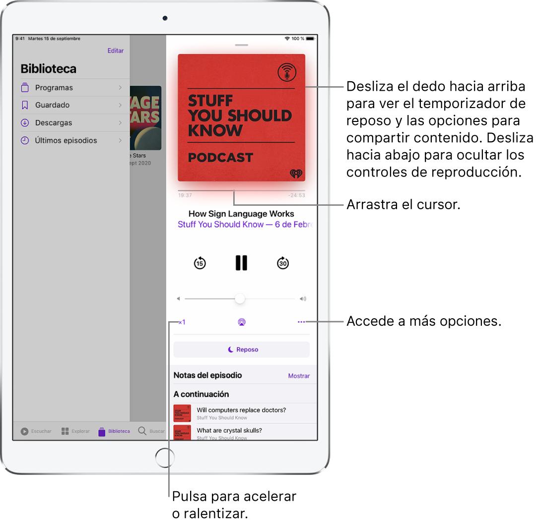 Controles de reproducción de podcasts en la parte derecha de la pantalla. En el centro está el control para reproducir o poner en pausa el podcast. Debajo se encuentra el control del volumen. En la parte superior de la pantalla, se encuentra un regulador para retroceder o avanzar en el podcast. En la esquina inferior izquierda de la pantalla, se encuentra el control para cambiar la velocidad de reproducción. En la esquina inferior derecha, se encuentra el botón Más.