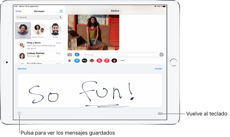 Pantalla para escribir a mano con un mensaje escrito a mano. En la parte inferior izquierda, hay un botón para seleccionar un mensaje guardado. El botón para mostrar el teclado está situado en la parte inferior derecha de la pantalla.