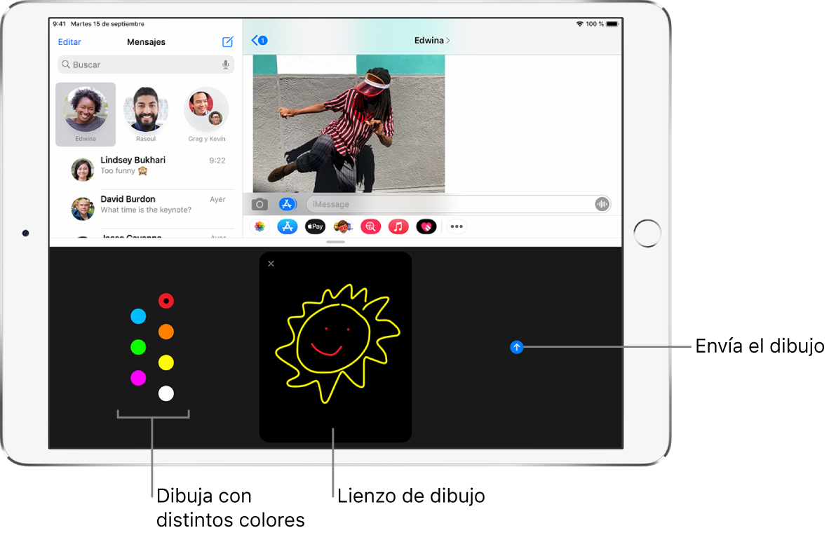 Una pantalla de Mensajes con la pantalla DigitalTouch en la parte inferior. Las opciones de colores se encuentran a la izquierda; el lienzo de dibujo, en el centro, y el botón Enviar, a la derecha.