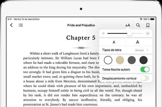 El menú Aspecto de un libro está seleccionado con los controles (de arriba a abajo) de brillo, tamaño de letra, estilo de letra, color de página, tema noche automático y desplazamiento.