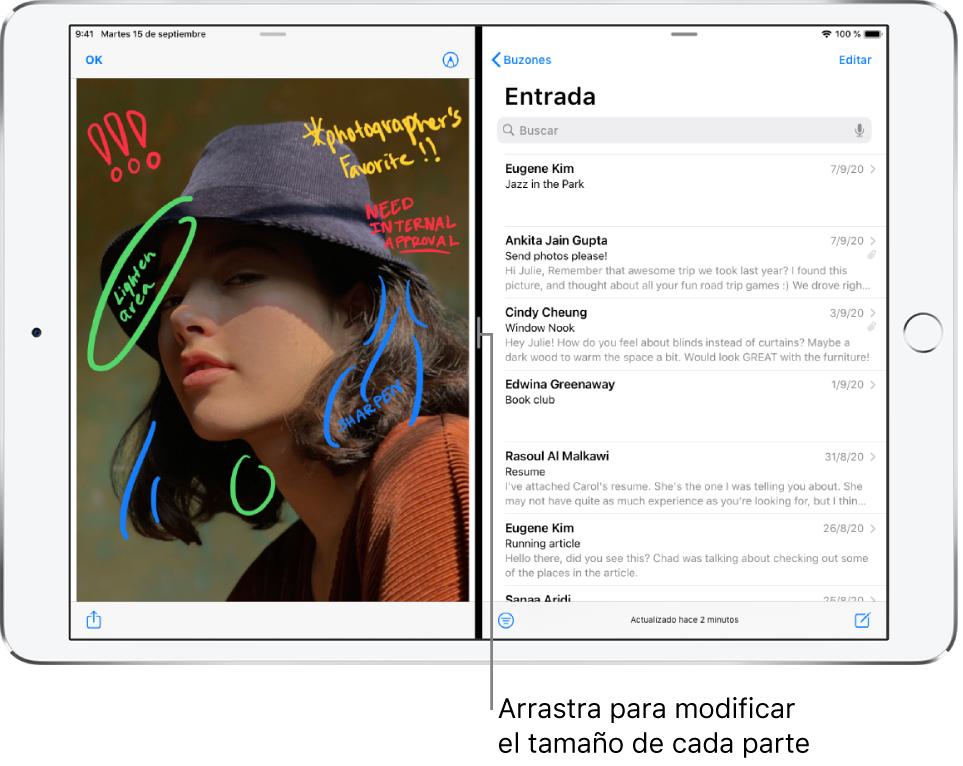 """En la parte izquierda de la pantalla, hay abierta una app de gráficos, mientras que la app Mail está abierta a la derecha. Una llamada a la línea oscura entre ambas partes indica """"Arrastra para cambiar el tamaño de la división""""."""