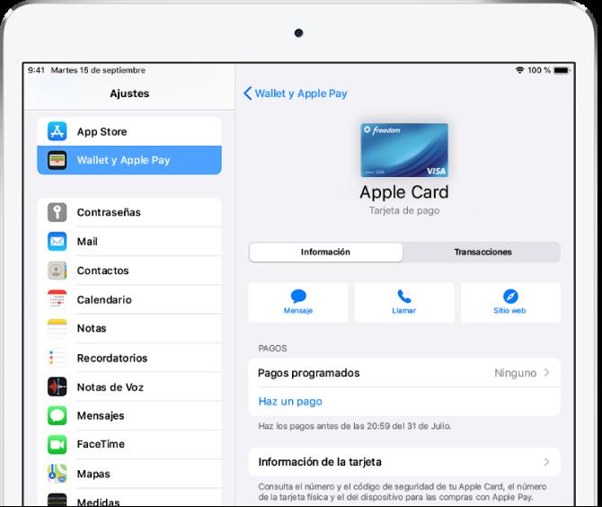 Pantalla de detalles de la tarjeta AppleCard