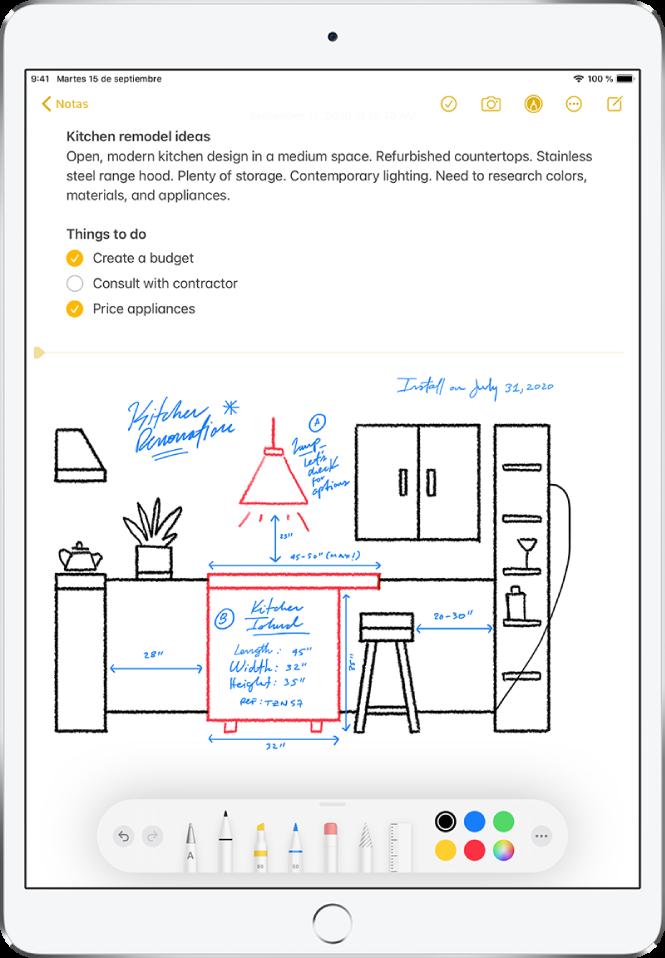 Dibujo hecho a mano de una cocina con etiquetas y medidas para una reforma. La barra de herramientas Marcación aparece en el borde inferior de la pantalla con las herramientas de dibujo y las selecciones de color.