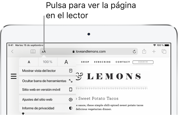 Barra de herramientas de Safari con el botón Lector situado en el lateral izquierdo del campo de dirección.