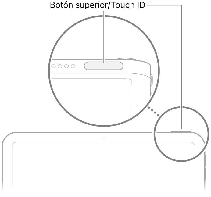 Botón superior/TouchID en la parte superior del iPad.