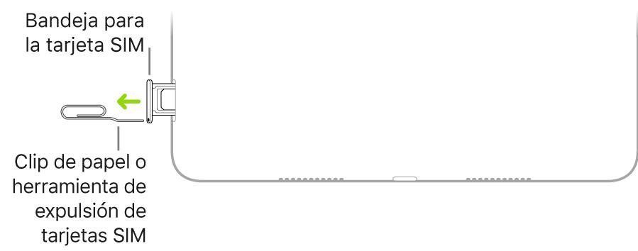 Inserción de un clip o la herramienta de extracción de SIM en el pequeño orificio de la bandeja de la tarjeta SIM situada en el lateral derecho del iPad.