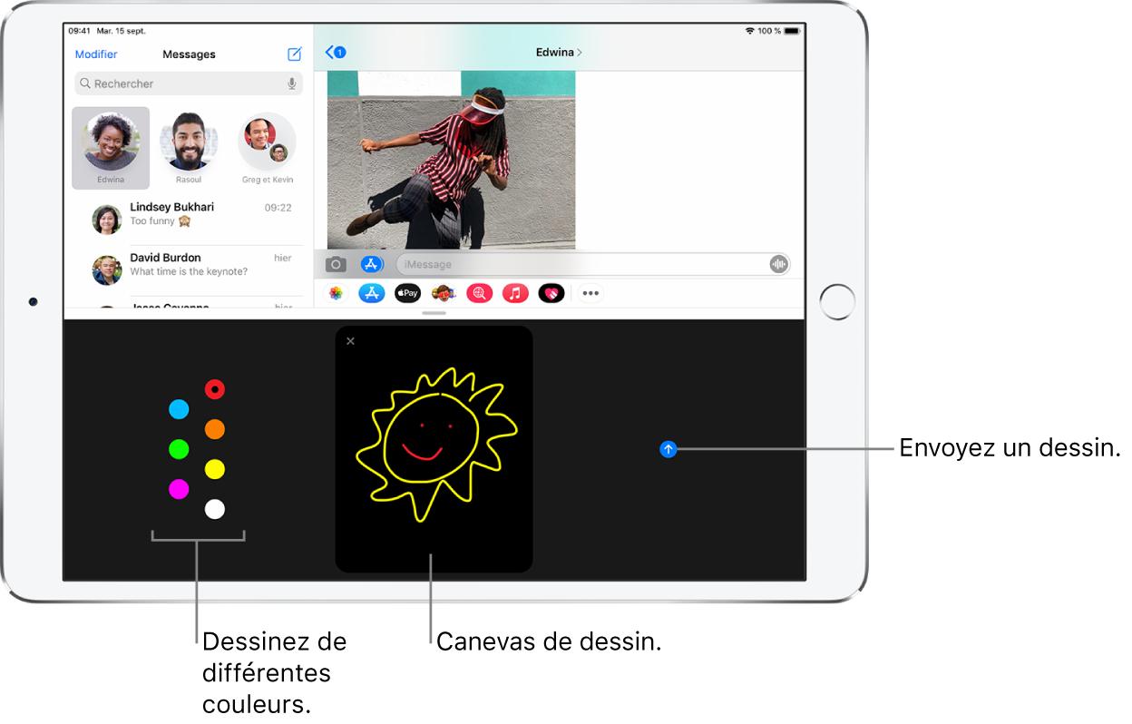 Un écran Messages avec l'écran DigitalTouch en bas. Les options de couleurs sont à gauche, le canevas de dessin est au centre et le bouton Envoyer est à droite.