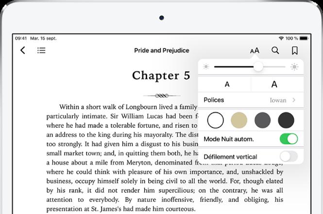 Le menu Apparence d'un livre sélectionné affichant, de haut en bas, les commandes relatives à la luminosité, à la taille de la police, au style de la police, à la couleur de la page, au mode Nuit automatique et à la présentation en défilement.