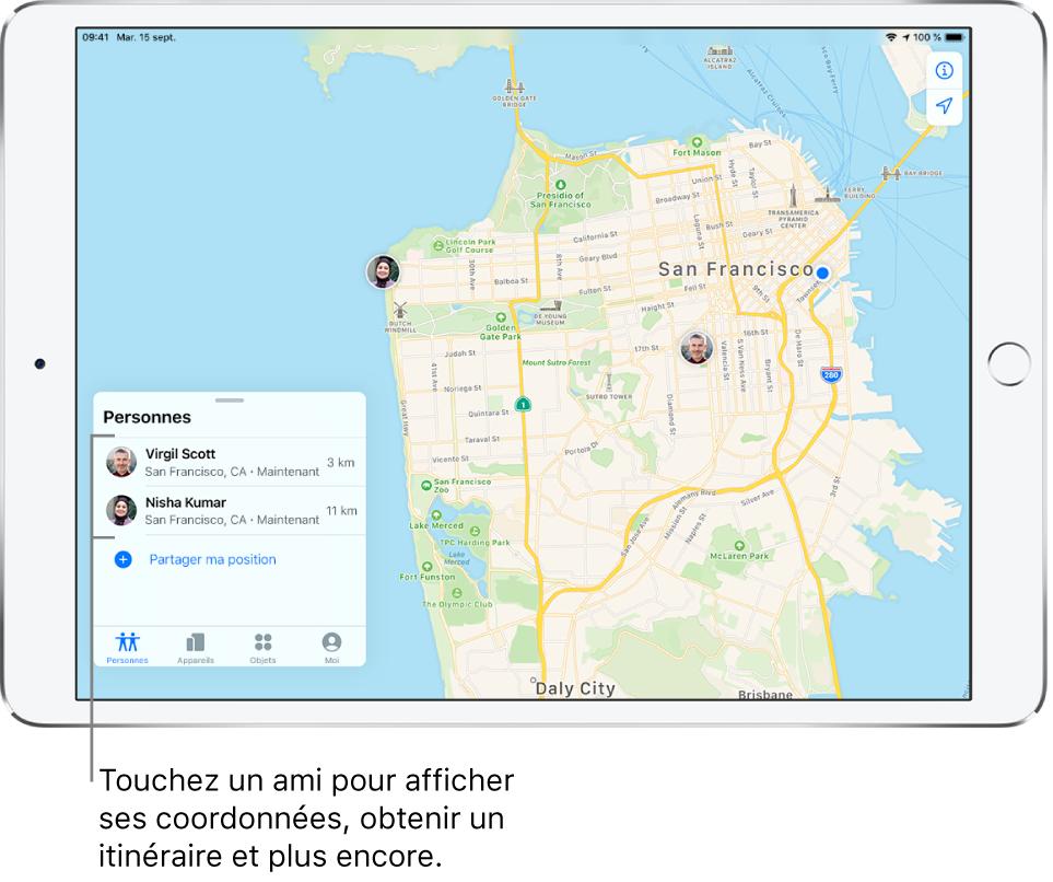 Écran Localiser ouvert sur l'onglet Personnes. Il y a deux amis dans la liste Personnes: Virgil Scott et Nisha Kumar. Leur position est affichée sur un plan de San Francisco.